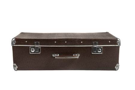 rarity: rarity brown leather suitcase, on white background; isolated
