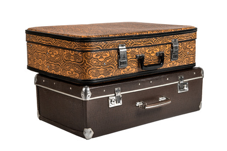 rarity: two, rarity brown leather suitcase, on white background; isolated
