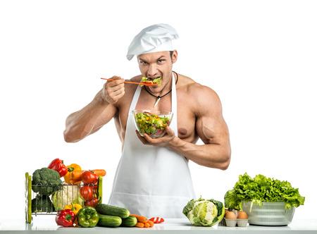 흰색 보디 blanche에 남자 보디와 요리 보호 앞치마, aw아 샐러드, whie 배경에 절연