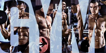 musculation: bodybuilding,  execute exercise press with weight, in gym, collage of photo