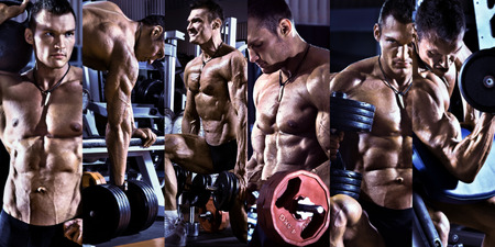 musculation: bodybuilding,  execute exercise press with weight, in gym, collage of photo, blue, violet tone
