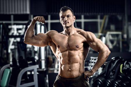 musculation: portrait bodybuilder in gym, horizontal photo