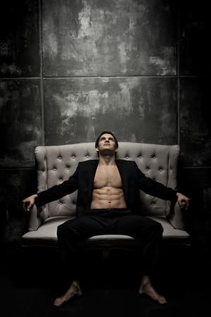 the very muscular handsome sexy guy  indoor