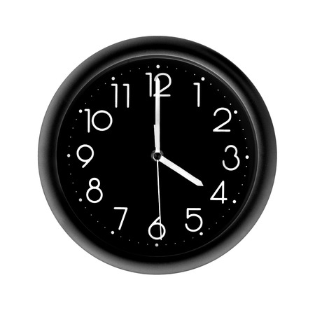 four oclock, photo round black clock, on white background, isolated Stock Photo