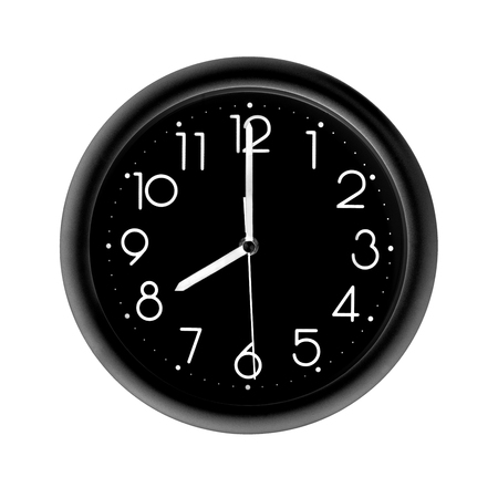 eight oclock, photo round black clock, on white background, isolated