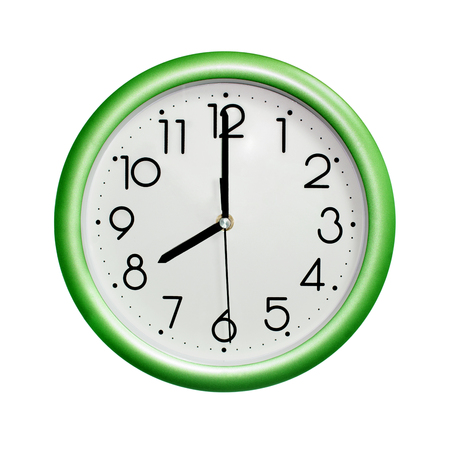 eight oclock, photo circle green wall clock, on white background, isolated Stock Photo