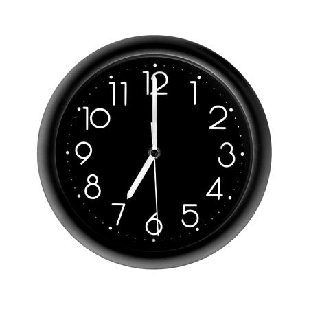seven oclock, photo round black clock, on white background, isolated