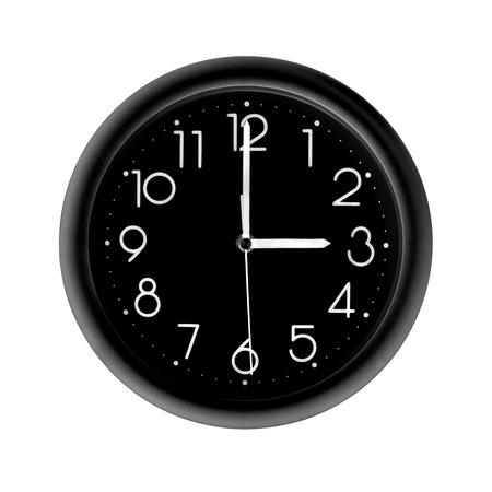 photo round black clock, on white background, isolated Stock Photo