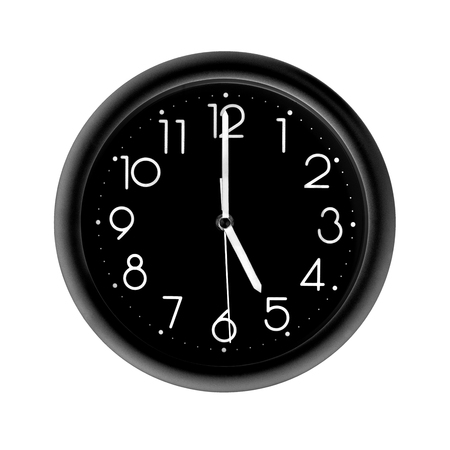 five oclock, photo round black clock, on white background, isolated Stock Photo