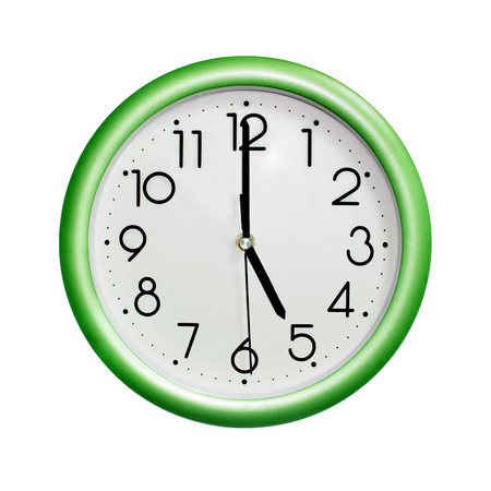 five oclock, photo circle green wall clock, on white background, isolated Stock Photo