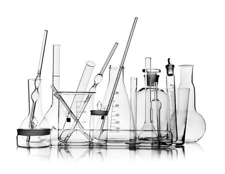 group object of  laboratory limpid glassware on white background, isolated,  horizontal photo Stock Photo