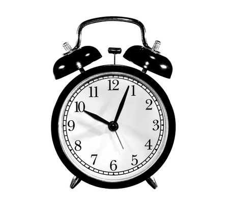 photo round, old, antique black alarm clock, on white background, isolated
