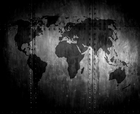 threadbare rusty  steel covering with rivet,  iron background with world map