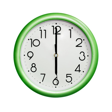 six oclock, photo circle green wall clock, on white background, isolated