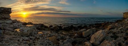 Beauty nature sea landscape Crimea (Tarkhannut, Black sea), horizontal panorama photo