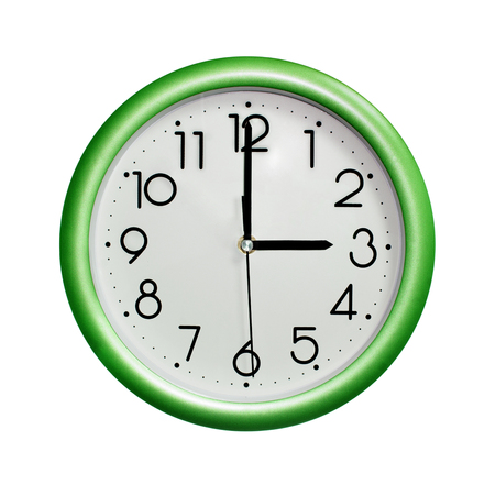 photo round green wall clock, on white background, isolated