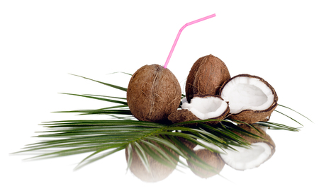 still-life of coconut cracked nut with olive-branch on white background, isolated