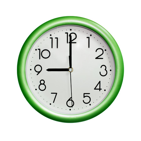 nine oclock, photo circle green wall clock, on white background, isolated
