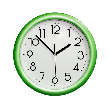 photo circle green wall clock, on white background, isolated Stock Photo