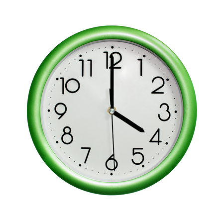 four oclock, photo circle green wall clock, on white background, isolated