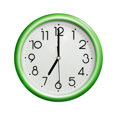 seven oclock, photo circle green wall clock, on white background, isolated