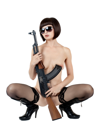 beautiful sexy girl with  submachine gun , on white background, isolated