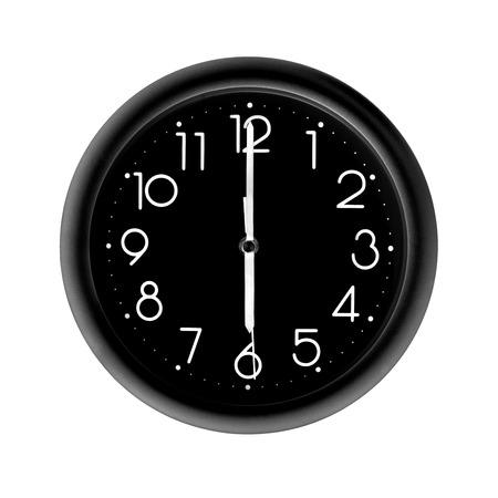 six oclock, photo round black clock, on white background, isolated