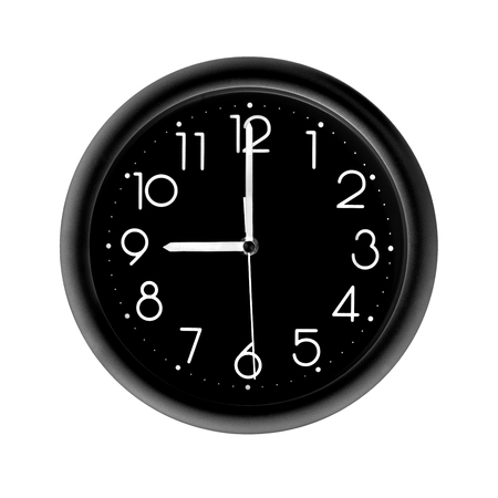 nine oclock, photo round black clock, on white background, isolated