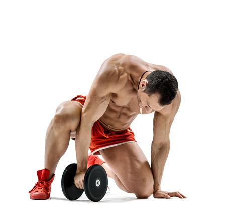 tired bodybuilder one on white background Stock Photo