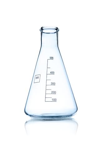 one laboratory test tube, photo on white background, isolated