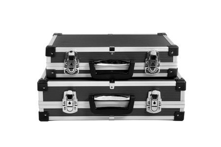 two black suitcase for money, on white background; isolated