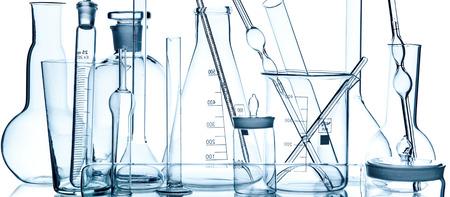 group object of laboratory limpid glassware, horizontal photo, on white background, isolated