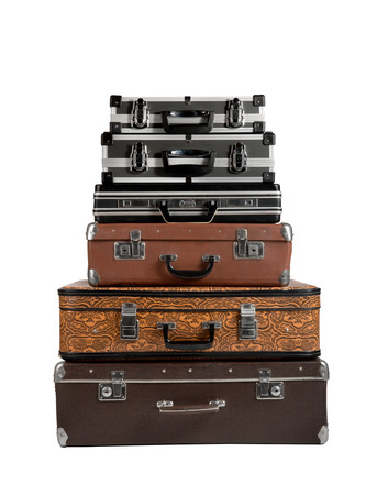 pile of suitcase in the lying position, on white background; isolated