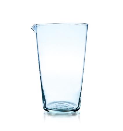 one laboratory glass, photo on white background, isolated