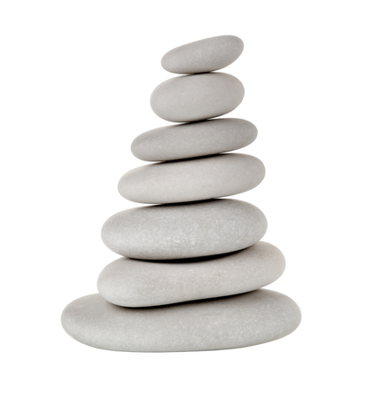 still life of pile white stone for spa treatment, on white background; isolated Stock Photo