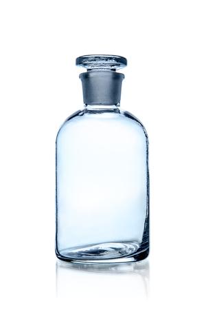 one laboratory bottle, photo on white background, isolated