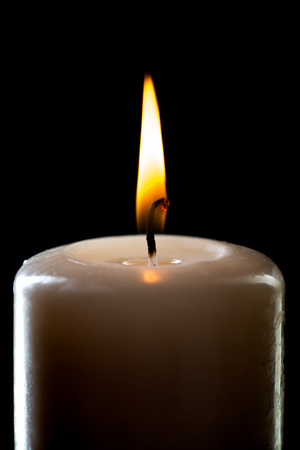 flame of candle, very close up, on black background; isolated Stock Photo