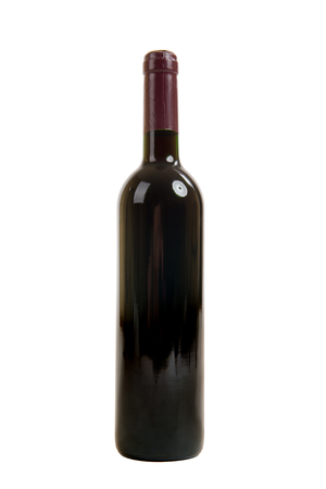 one dusty bottle with res wine, on white background, isolated