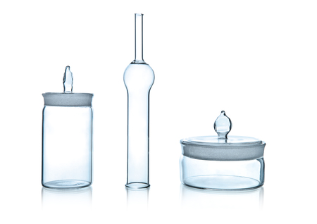 one laboratory jar, photo on white background, isolated Reklamní fotografie
