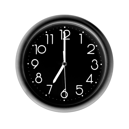 seven oclock, photo circle black wall clock, on white background, isolated