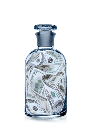 glass bottle with USA dollars, finance (money) concept, photo on white background, isolated Reklamní fotografie