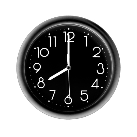 eight oclock, photo circle black wall clock, on white background, isolated Reklamní fotografie