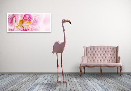Pink flamingo in home room with pink sofa, concept laconic decor