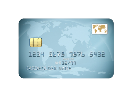 illustration of detailed blue credit card isolated on white background