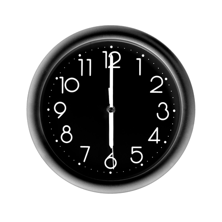six oclock, photo circle black wall clock, on white background, isolated