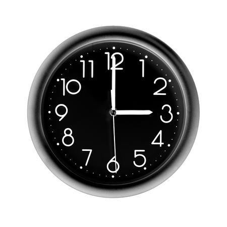 photo round black wall clock, on white background, isolated