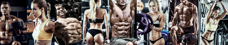 bodybuilding gym workout concept , horizontal panorama, collage of photo Reklamní fotografie