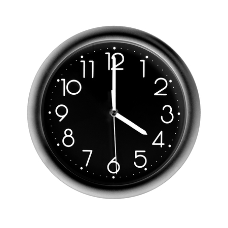 four oclock, photo circle black wall clock, on white background, isolated