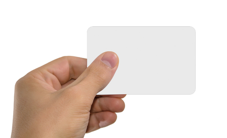 hand holds template credit card, closeup photo, white background; isolated