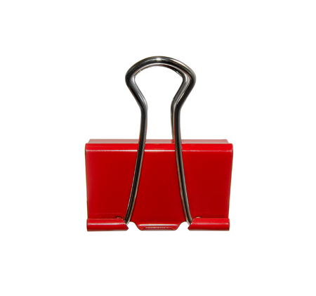 one red paperclip, on white background, isolated
